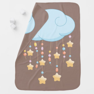 Blue Cloud Beads Stars Baby Mobile on Brown Baby Blanket