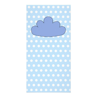 Blue Cloud on Blue and White Polka Dots. Photo Card Template