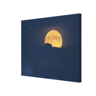 Blue Clouds Full Moon Rise Canvas Print