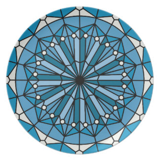 Blue Coastal Decor Stained Glass Style Plate
