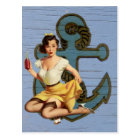 blue coastal ship and anchor pool party girl postcard