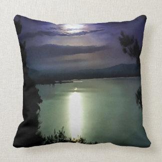 Blue Coastal Sunset Throw Pillow