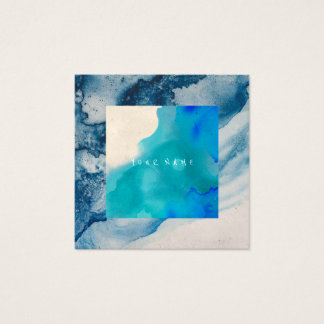 Blue Cobalt Abstract Paint Watercolor Ocean Square Business Card