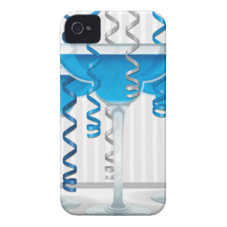 Blue cocktail and ribbon Case-Mate iPhone 4 cases