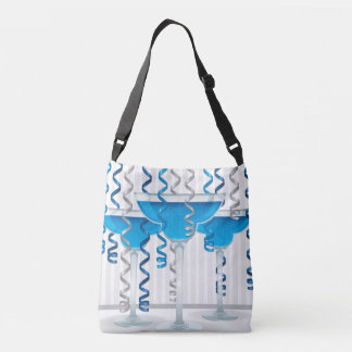 Blue cocktail and ribbon crossbody bag