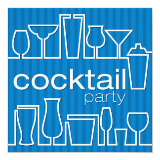 Blue cocktail party card