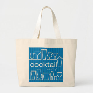 Blue cocktail party large tote bag
