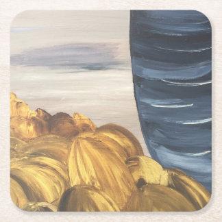 Blue Coffee Mug & Beans Square Paper Coaster