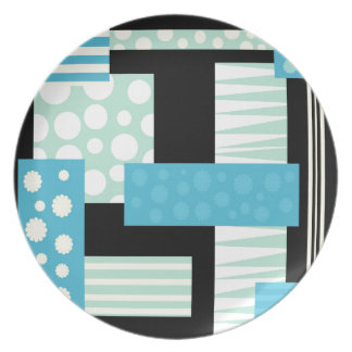 Blue collage party plate