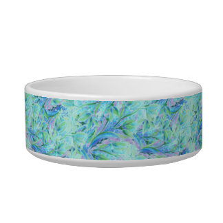 Blue color abstract floral stylish pattern cat food bowls