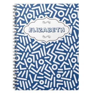 Blue Color seamles monogram Pattern notebook
