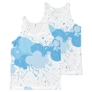 Blue color splash tank top