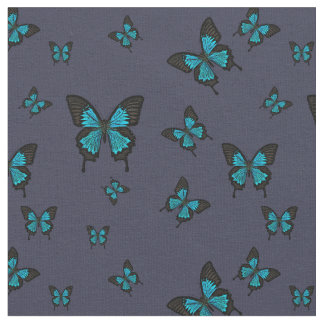 Blue colored Butterfies, Swallow tail Butterfly Fabric
