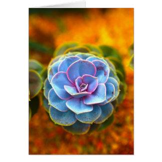 Blue Colored Echeveria Card