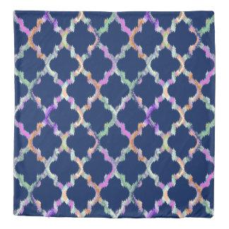 Blue & Colorful Ikat Quatrefoil Pattern Duvet Cover