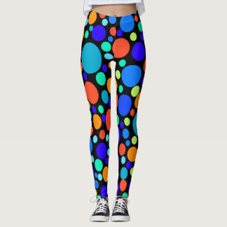BLUE COLORFUL POLKADOT MODERN BOLD LEGGINGS