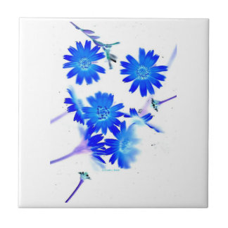 Blue colorized wild flowers scattered design tile