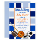Blue Colour Block Sports It's a Boy Baby Shower Card