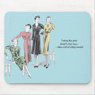 Blue coloured vintage print mouse mat mouse pad