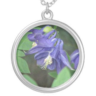 Blue Columbine Flower Necklace