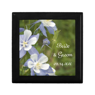 Blue Columbine Flowers Wedding Gift Box