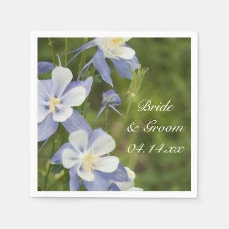 Blue Columbine Flowers Wedding Paper Napkins