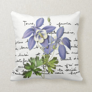 Blue Columbine Redouté Illustration Throw Pillow