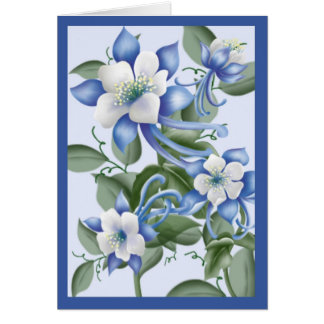 Blue Columbines Card