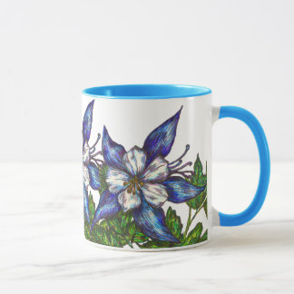 blue columbines mug