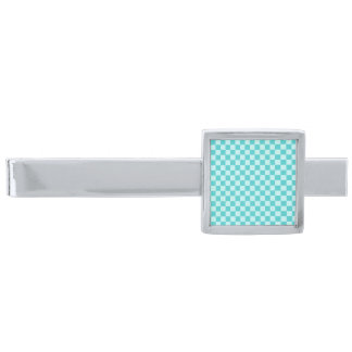 Blue Combination Classic Checkerboard Silver Finish Tie Bar