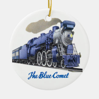 Blue Comet Steam Locomotive Ceramic Ornament