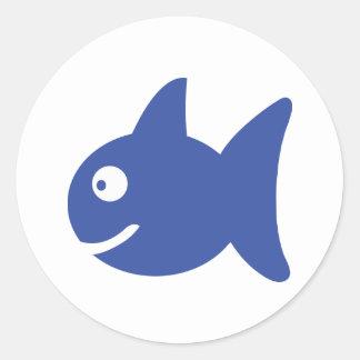 blue comic fish classic round sticker