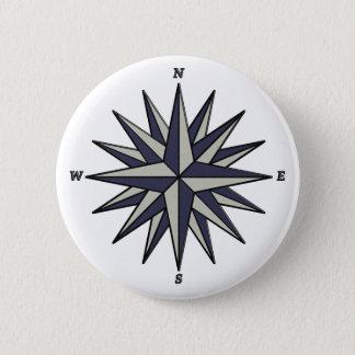 Blue Compass Rose Button
