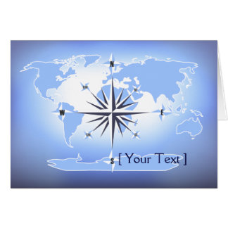 Blue Compass Rose World Map Greeting Card