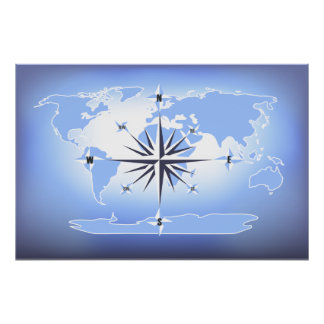 Blue Compass Rose World Map Print Poster