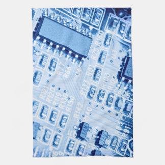 Blue computer motherboard pattern kitchen towel