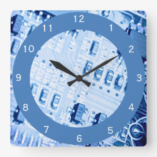 Blue Computer Motherboard Pattern Square Wall Clock