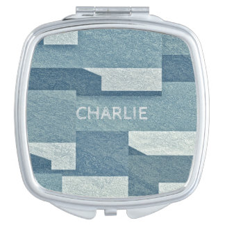 """Blue Concrete"" custom name pocket mirrors"