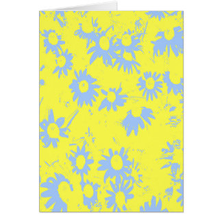 Blue Cone Flowers with Yellow Background Card