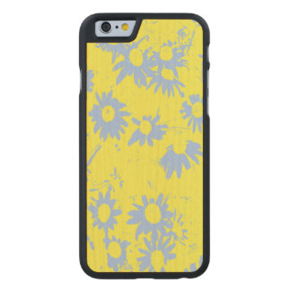 Blue Cone Flowers with Yellow Background Carved Maple iPhone 6 Case