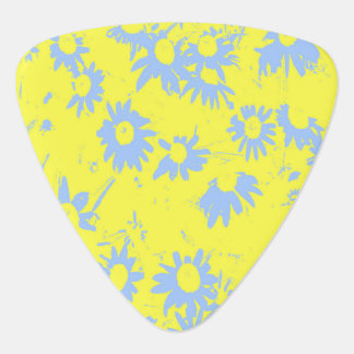 Blue Cone Flowers with Yellow Background Guitar Pick