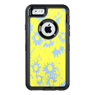 Blue Cone Flowers with Yellow Background OtterBox Defender iPhone Case