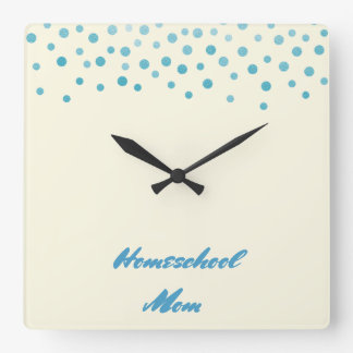 Blue Confetti Homeschool Mom Square Wall Clock