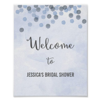 Blue Confetti Welcome Poster Print