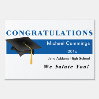 Blue Congratulations Graduation Yard Sign