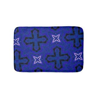 blue cool modern unique pattern bathroom mat