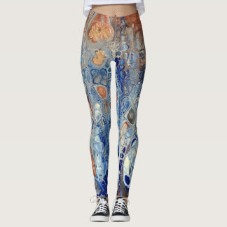 "Blue & Copper Abstract Leggings - ""The Blue Gator"""