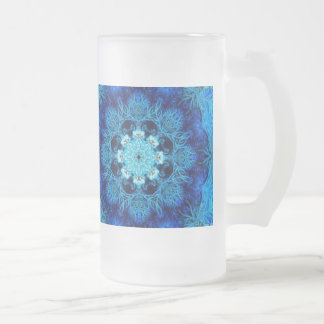 Blue Coral Abstract Frosted Glass Mug