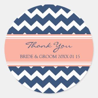 Blue Coral Chevron Thank You Wedding Favor Tags Round Sticker