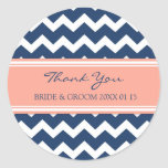 Blue Coral Chevron Thank You Wedding Favor Tags Stickers